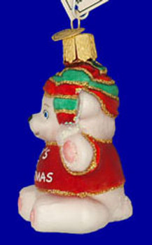Red Babys First Christmas Old World Christmas Glass Ornament 12093 inset