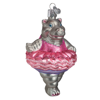Twinkle Toes Ballerina Hippo Glass Ornament