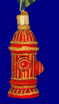 Fire Hydrant Old World Christmas Glass Ornament 36038 inset