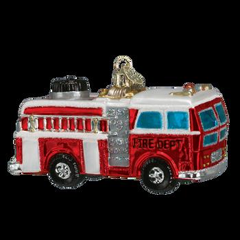 Fire Truck Glass Ornament