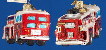 Fire Truck Old World Christmas Glass Ornament 46005 inset