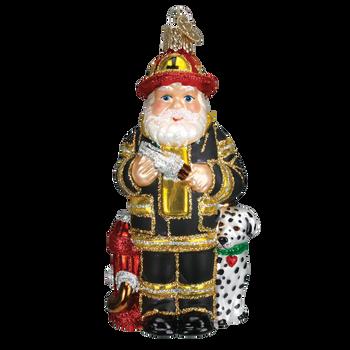 Fireman Glass Ornament  black suit