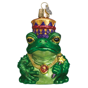Fairy Tale Frog King Glass Ornament