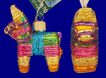 Mexican Pinata Old World Christmas Glass Ornament 44025 inset