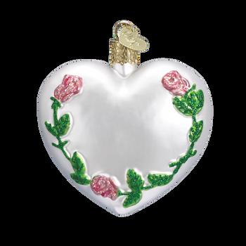 Wedding Rings Heart Glass Ornament back