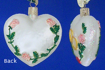 Wedding Rings Heart Old World Christmas Glass Ornament 30013 inset
