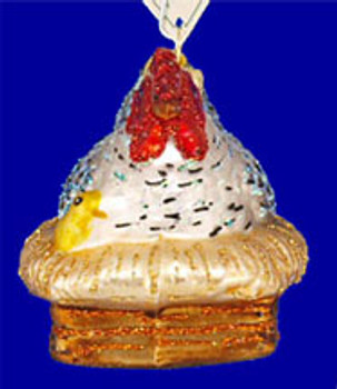 Nesting Hen Old World Christmas Glass Ornament 16062 inset