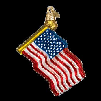 United States Flag Glass Ornament