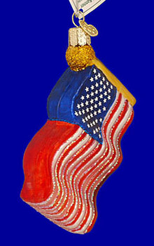United States Flag Old World Christmas Glass Ornament 36025 inset
