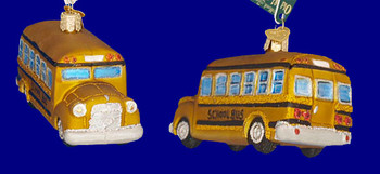 School Bus Old World Christmas Glass Ornament 46007 inset