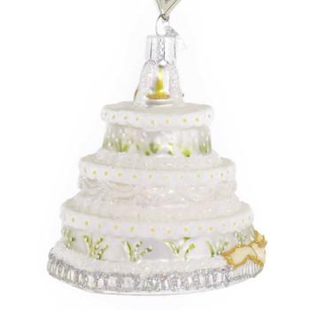 Wedding Cake Glass Ornament side