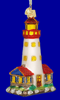 Lighthouse Old World Christmas Glass Ornament 20003 inset