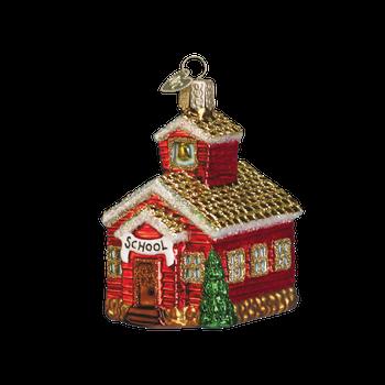 School House Glass Ornament