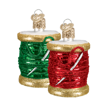 Spool of Thread Sewing Glass Ornament