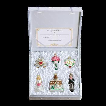 Wedding 7 pc Glass Ornaments Set - Bridal Set