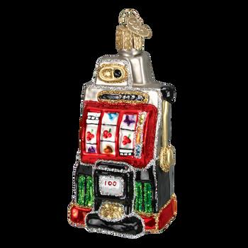 Casino Slot Machine Old World Christmas Glass Ornament 44038 front