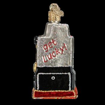 Casino Slot Machine Old World Christmas Glass Ornament 44038 back