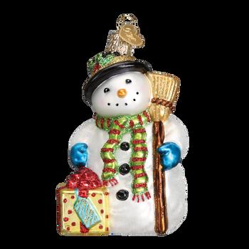 Gleeful Snowman Glass Ornament