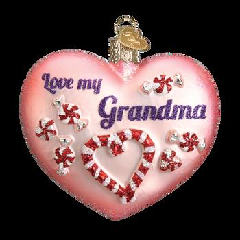 Heart for Grandma Glass Ornament
