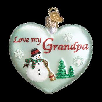 Heart for Grandpa Glass Ornament