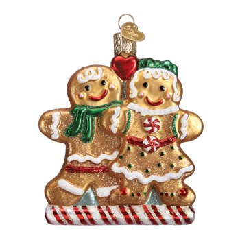 Youthful Gingerbread Couple Glass Ornament