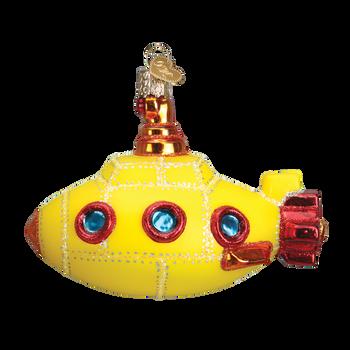 Groovy Yellow Submarine Glass Ornament