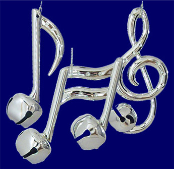 """Silver Music Note Ornaments with metal bell, 3 3/8 - 4 5/8"""", #MW754733"""