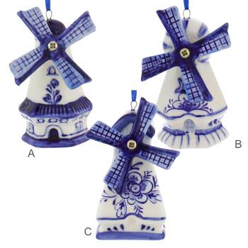 Delft Style Blue, White Windmill Ornaments