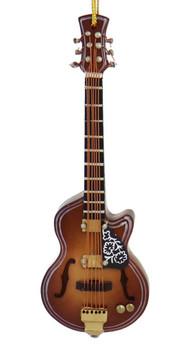 Mini F-Hole Guitar Ornament - Wood