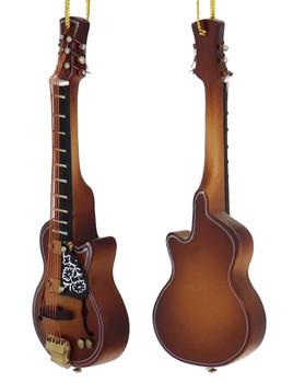 Mini F-Hole Guitar Ornament - Wood left side back