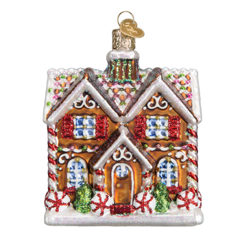 Gingerbread Christmastime Cottage Glass Ornament
