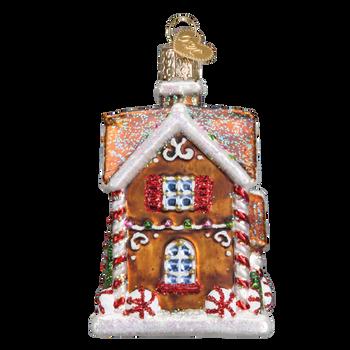 Gingerbread Christmastime Cottage Glass Ornament side
