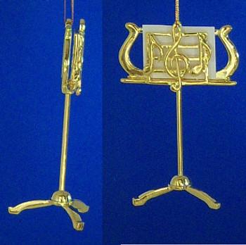 Metal Music Stand Ornament 3.5 Gold Designer inset