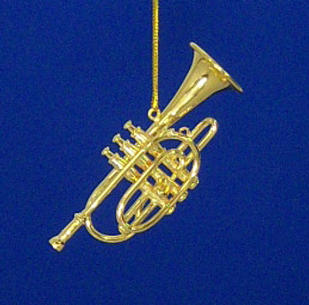 Cornet Ornament Mini Cornet Gold 2.75 Metal Medium