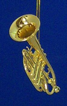 Cornet Ornament Mini Cornet Gold 2.75 Metal Medium inset