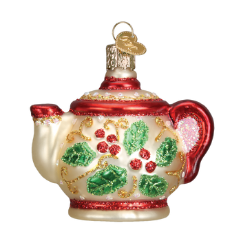 Holly Teapot Glass Ornament