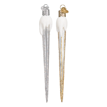 Sparkling Clear Glass Icicle Ornament