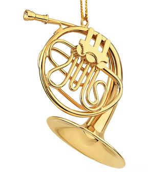 "Mini French Horn Ornament - Gold Metal, 2 1/2 - 3 1/8"" Medium #BG2319"