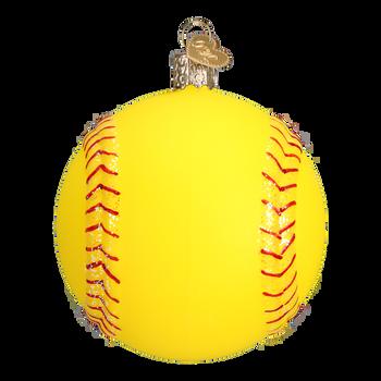 Softball Glass Ornament
