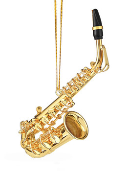 Mini Alto Saxophone Ornament - Gold Metal