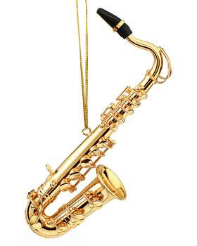 Mini Tenor Saxophone Ornament - Gold Metal