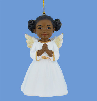 Praying African American Little Girl Angel Ornament