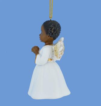Praying African American Little Girl Angel Ornament side