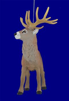 "Red Deer Buck Ornament, 4 x 4 1/2"", break resistant, SL8455"