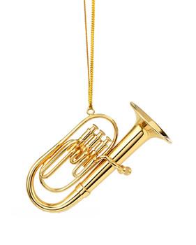 Mini Baritone Tuba Ornament - Gold Metal