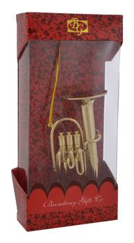 Baritone Tuba Ornament Mini Tuba 3.75 Gold Metal Large with box