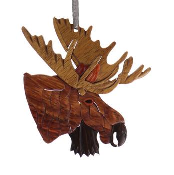 Light Antlers Moose Intarsia Wood Ornament
