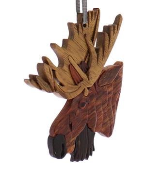 Light Antlers Moose Intarsia Wood Ornament side