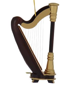 Mini Harp Ornament - Wood
