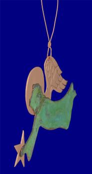 Verdigris Copper Angel Ornament inset side
